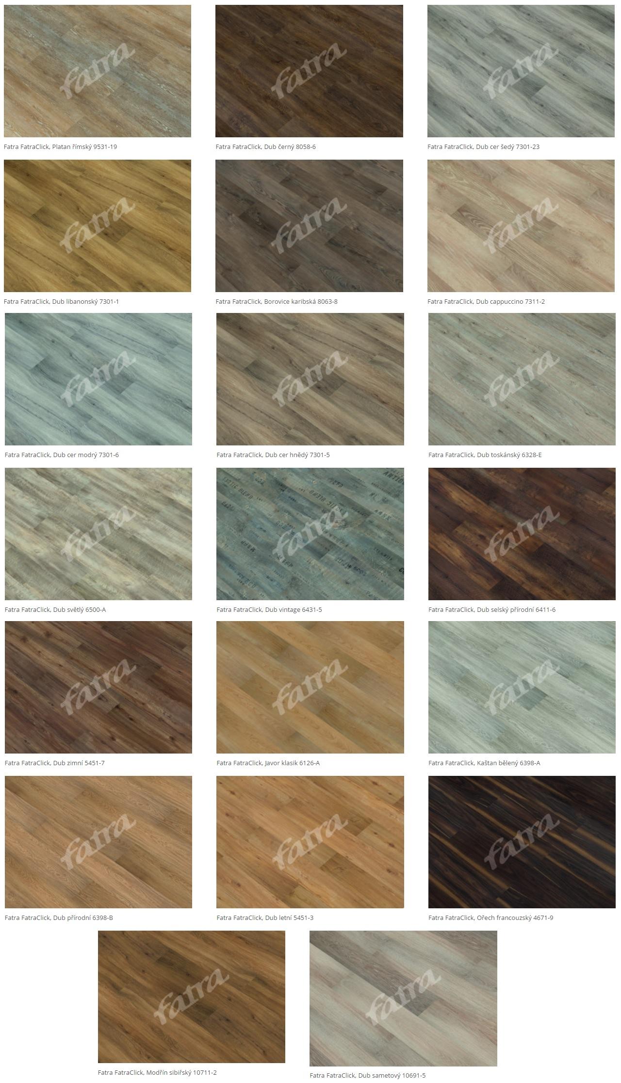 Plovoucí vinylové podlahy Fatra Click - dekory