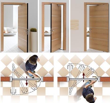 Posuvně-kyvné interiérové dveře - zdroj: dornob.com